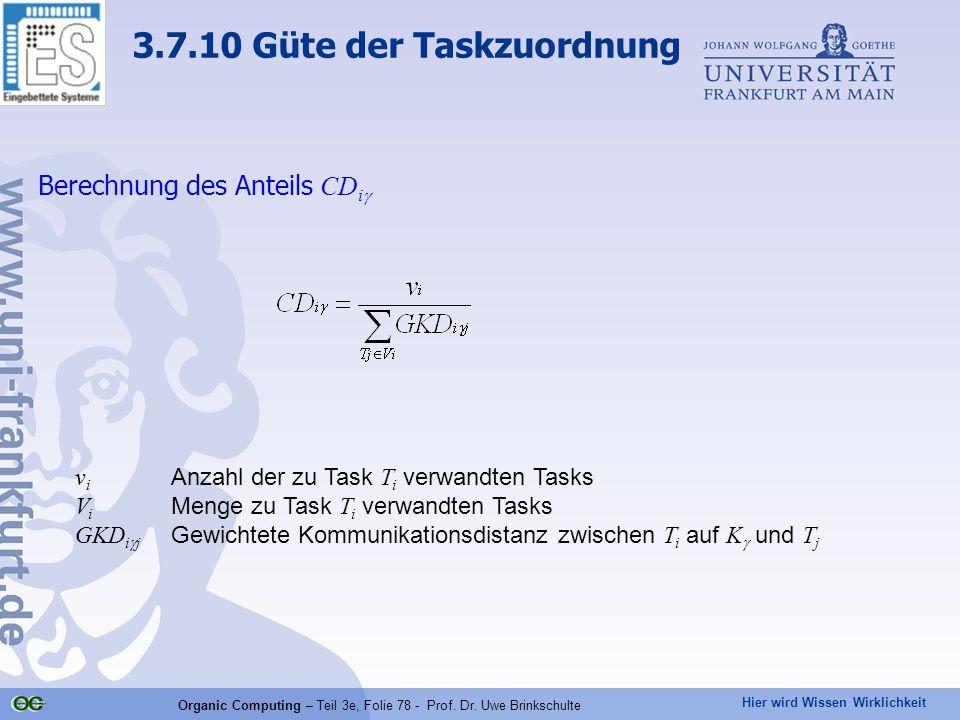 Hier wird Wissen Wirklichkeit Organic Computing – Teil 3e, Folie 78 - Prof. Dr. Uwe Brinkschulte Berechnung des Anteils CD i  v i Anzahl der zu Task