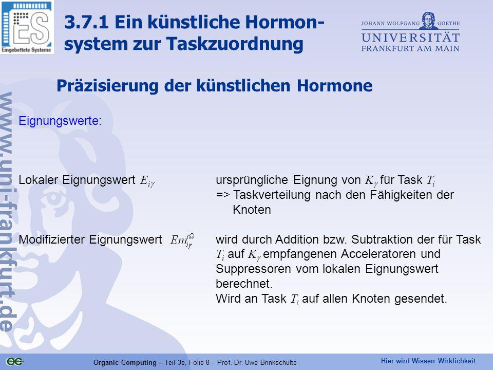 Hier wird Wissen Wirklichkeit Organic Computing – Teil 3e, Folie 8 - Prof. Dr. Uwe Brinkschulte Präzisierung der künstlichen Hormone Eignungswerte: Lo