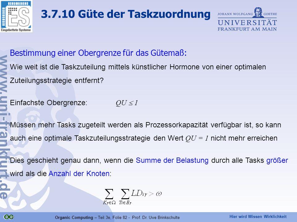 Hier wird Wissen Wirklichkeit Organic Computing – Teil 3e, Folie 82 - Prof. Dr. Uwe Brinkschulte Bestimmung einer Obergrenze für das Gütemaß: Wie weit