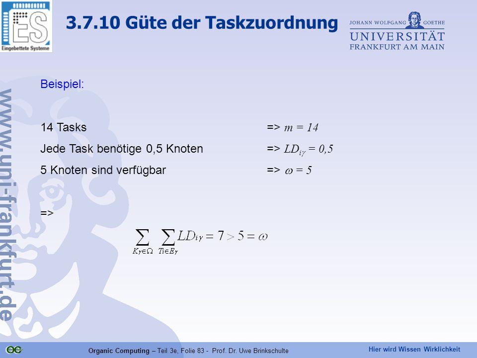 Hier wird Wissen Wirklichkeit Organic Computing – Teil 3e, Folie 83 - Prof. Dr. Uwe Brinkschulte Beispiel: 14 Tasks=> m = 14 Jede Task benötige 0,5 Kn