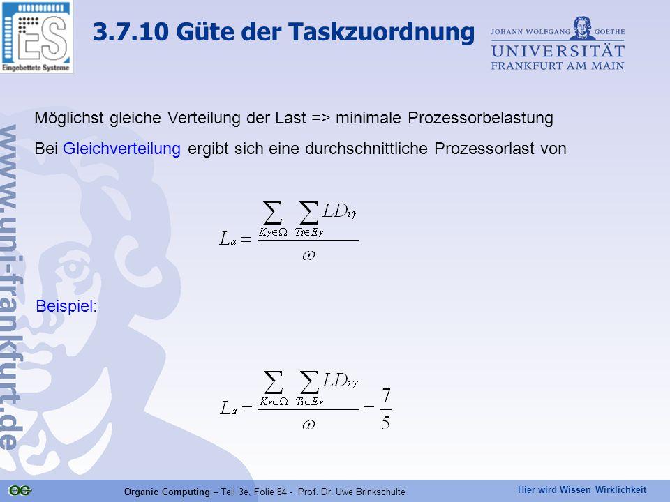 Hier wird Wissen Wirklichkeit Organic Computing – Teil 3e, Folie 84 - Prof. Dr. Uwe Brinkschulte Möglichst gleiche Verteilung der Last => minimale Pro