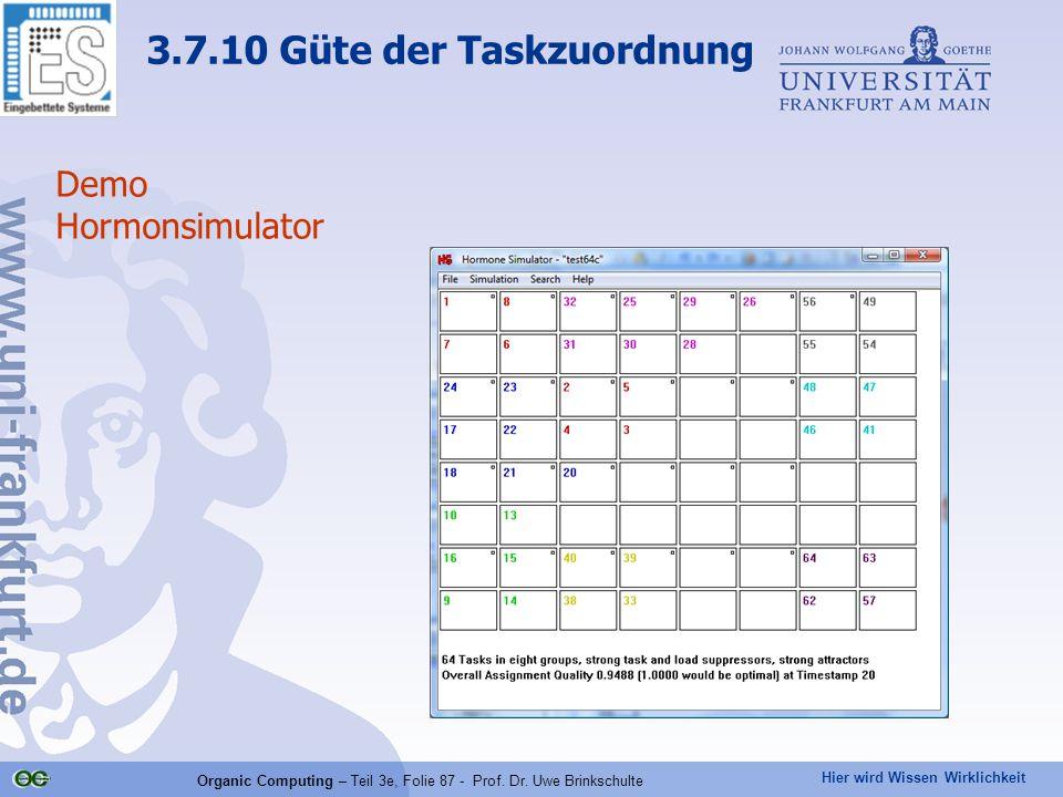 Hier wird Wissen Wirklichkeit Organic Computing – Teil 3e, Folie 87 - Prof. Dr. Uwe Brinkschulte Demo Hormonsimulator 3.7.10 Güte der Taskzuordnung
