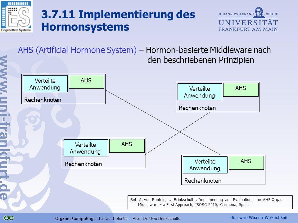 Hier wird Wissen Wirklichkeit Organic Computing – Teil 3e, Folie 88 - Prof. Dr. Uwe Brinkschulte 3.7.11 Implementierung des Hormonsystems AHS (Artific