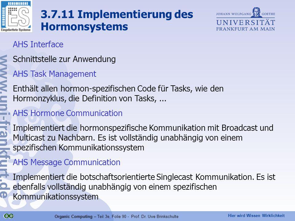 Hier wird Wissen Wirklichkeit Organic Computing – Teil 3e, Folie 90 - Prof. Dr. Uwe Brinkschulte 3.7.11 Implementierung des Hormonsystems AHS Interfac