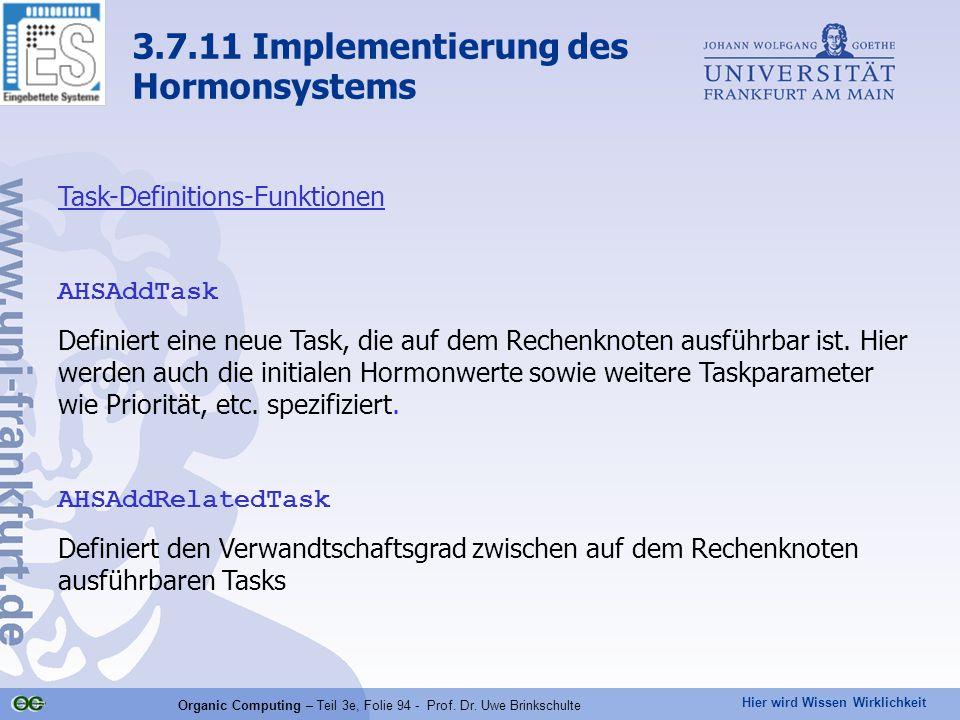 Hier wird Wissen Wirklichkeit Organic Computing – Teil 3e, Folie 94 - Prof. Dr. Uwe Brinkschulte 3.7.11 Implementierung des Hormonsystems Task-Definit