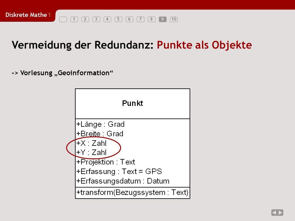"""Diskrete Mathe1 12345678910 Vermeidung der Redundanz: Punkte als Objekte -> Vorlesung """"Geoinformation"""" 9"""