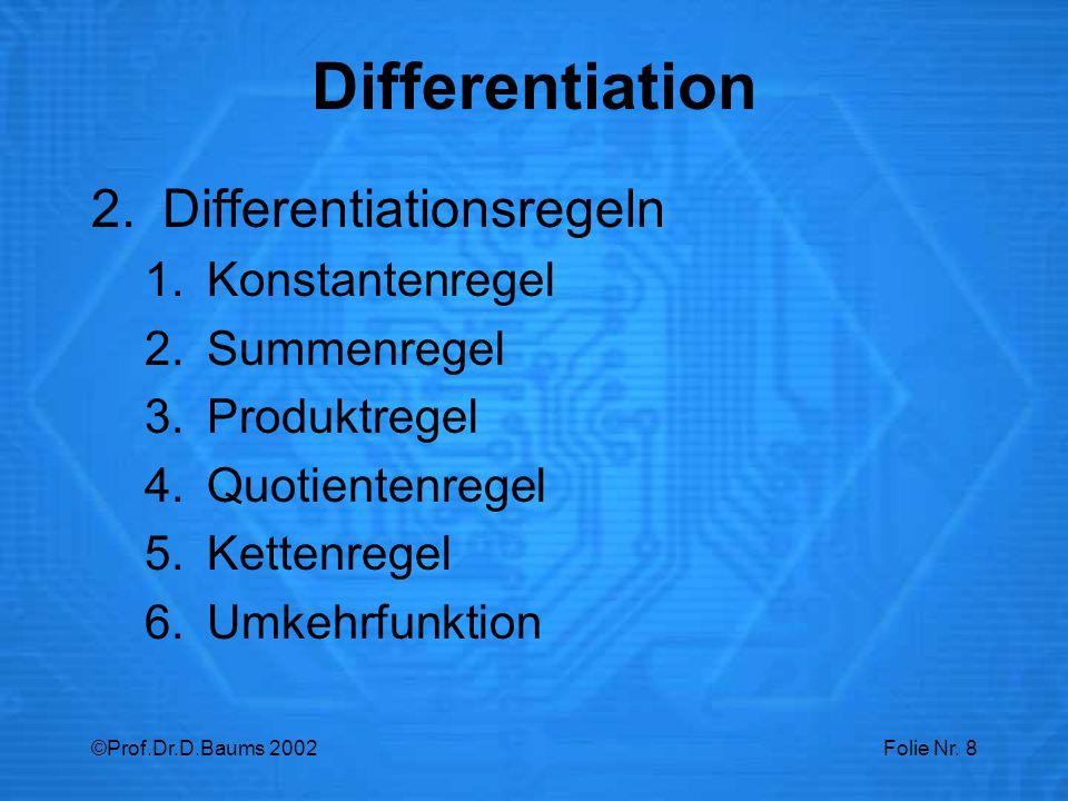 ©Prof.Dr.D.Baums 2002Folie Nr. 8 2.Differentiationsregeln 1.Konstantenregel 2.Summenregel 3.Produktregel 4.Quotientenregel 5.Kettenregel 6.Umkehrfunkt