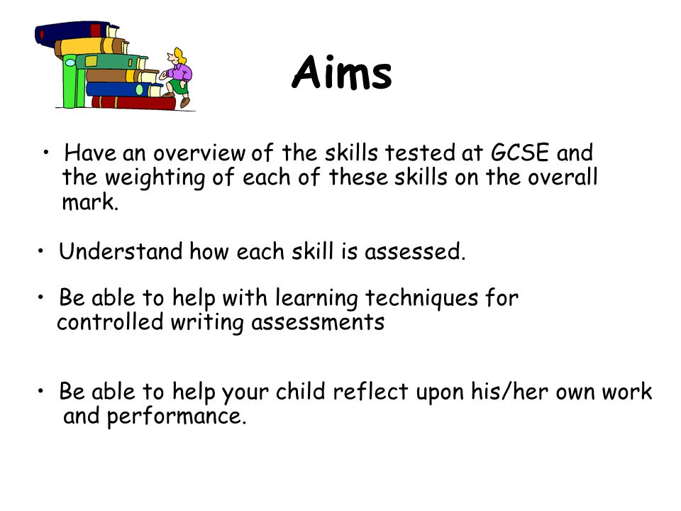Aims Have an overview of the skills tested at GCSE and the weighting of each of these skills on the overall mark.