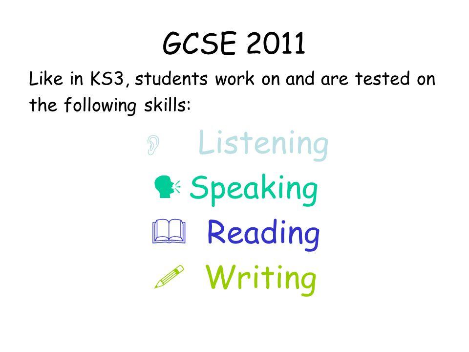 GCSE 2011 How the four skills make up your final grade: