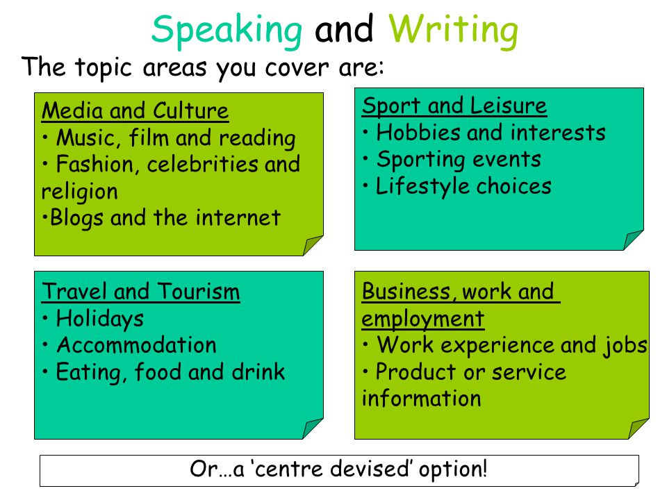 Speaking and Writing The topic areas you cover are: Media and Culture Music, film and reading Fashion, celebrities and religion Blogs and the internet Business, work and employment Work experience and jobs Product or service information Sport and Leisure Hobbies and interests Sporting events Lifestyle choices Travel and Tourism Holidays Accommodation Eating, food and drink Or…a 'centre devised' option!