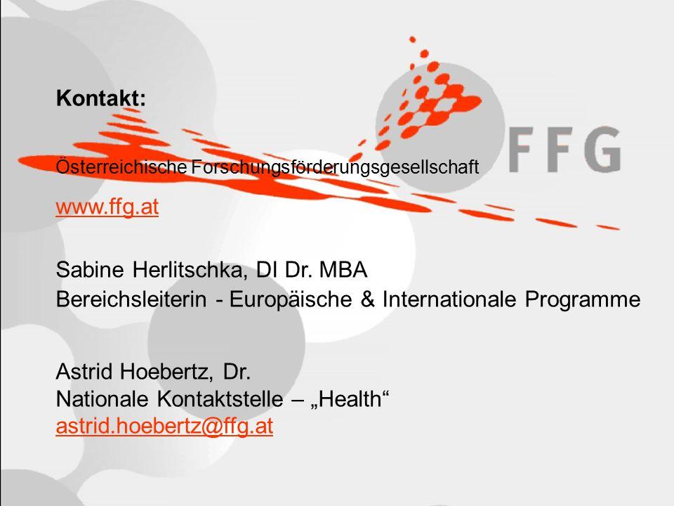 Seite 10 Kontakt: Österreichische Forschungsförderungsgesellschaft www.ffg.at Sabine Herlitschka, DI Dr.