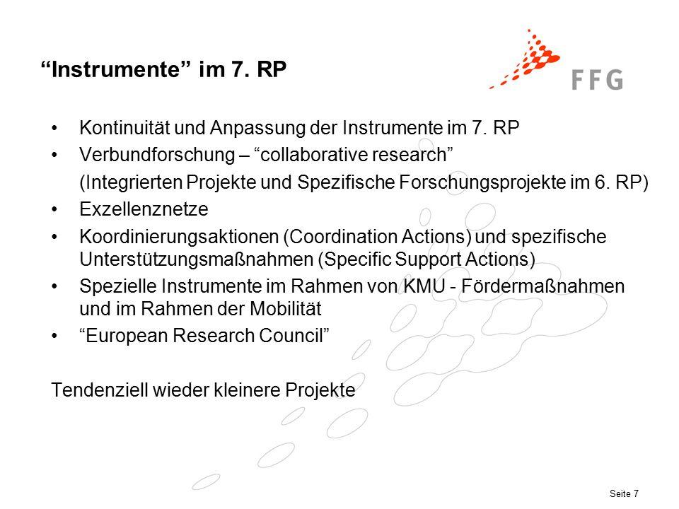Seite 7 Instrumente im 7. RP Kontinuität und Anpassung der Instrumente im 7.