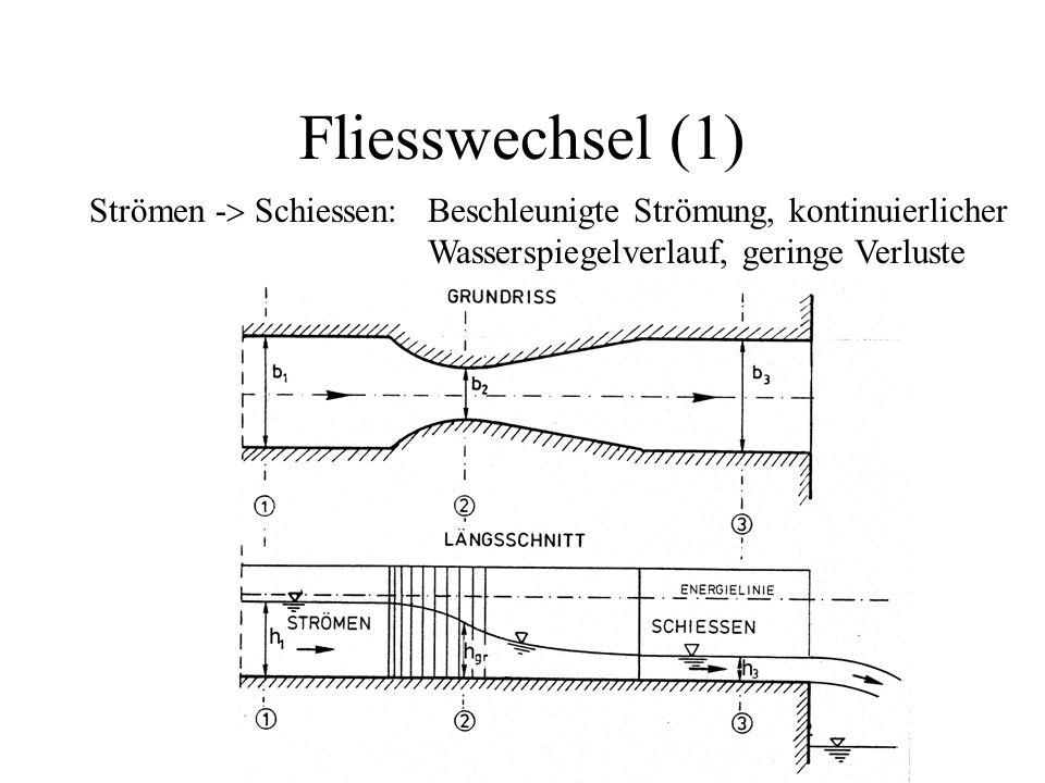 Fliesswechsel (1) Strömen -  Schiessen: Beschleunigte Strömung, kontinuierlicher Wasserspiegelverlauf, geringe Verluste