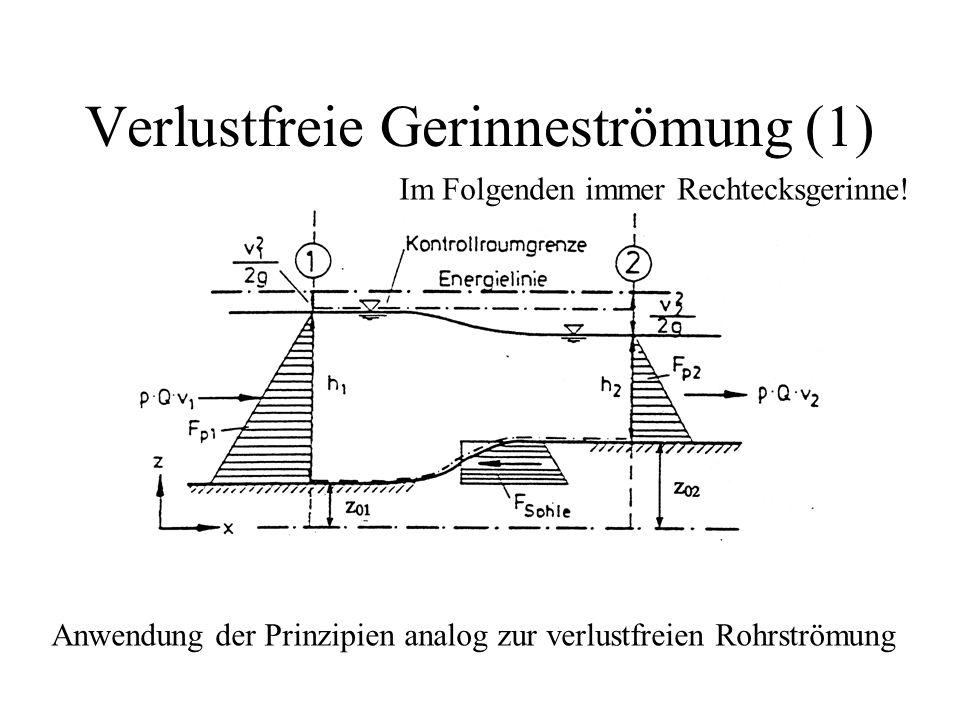 Verlustfreie Gerinneströmung (1) Anwendung der Prinzipien analog zur verlustfreien Rohrströmung Im Folgenden immer Rechtecksgerinne!