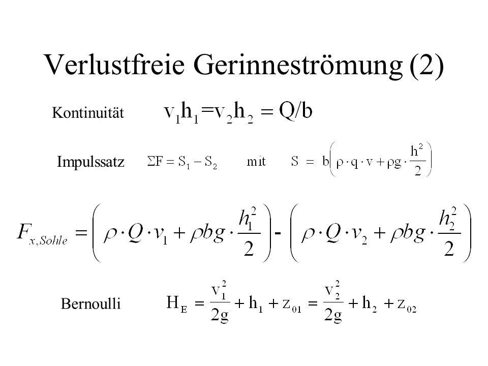 Verlustfreie Gerinneströmung (2) Kontinuität Impulssatz Bernoulli