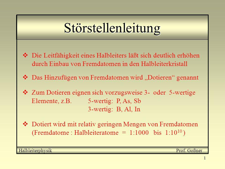 1 Störstellenleitung Halbleiterphysik Prof. Goßner  Die Leitfähigkeit eines Halbleiters läßt sich deutlich erhöhen durch Einbau von Fremdatomen in de
