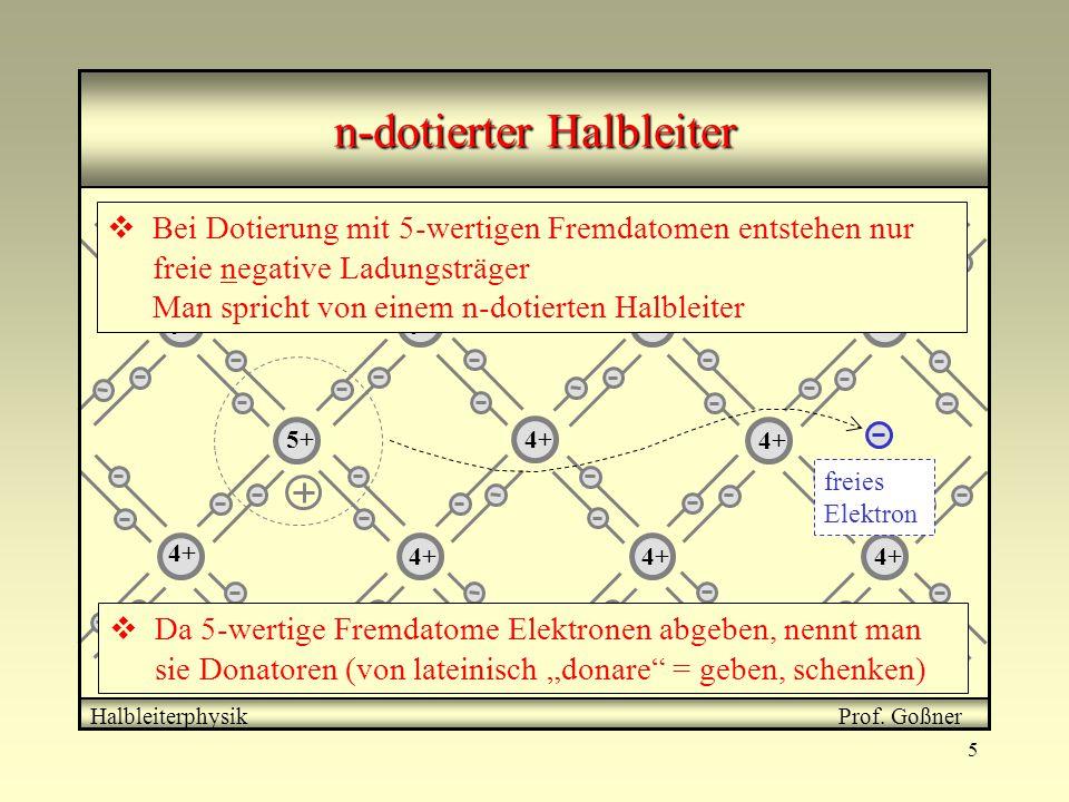 5 4+ 5+ freies Elektron 5+  Bei Dotierung mit 5-wertigen Fremdatomen entstehen nur freie negative Ladungsträger Man spricht von einem n-dotierten Hal