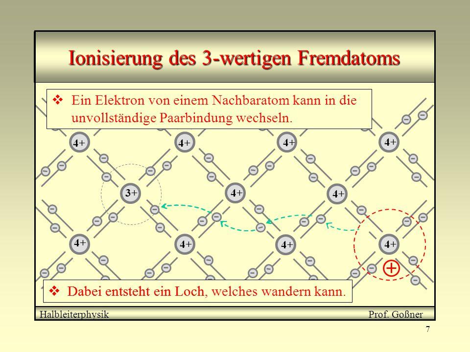 7 4+ 3+ Halbleiterphysik Prof. Goßner Ionisierung des 3-wertigen Fremdatoms  Ein Elektron von einem Nachbaratom kann in die unvollständige Paarbindun