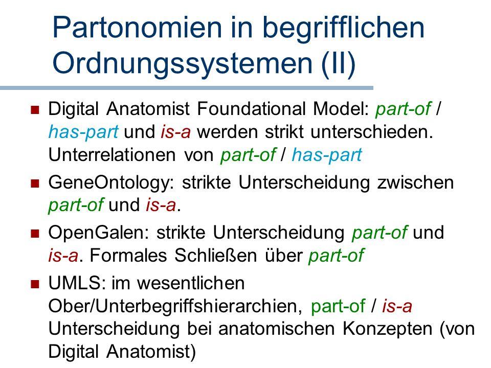 Partonomien in begrifflichen Ordnungssystemen (II) Digital Anatomist Foundational Model: part-of / has-part und is-a werden strikt unterschieden. Unte