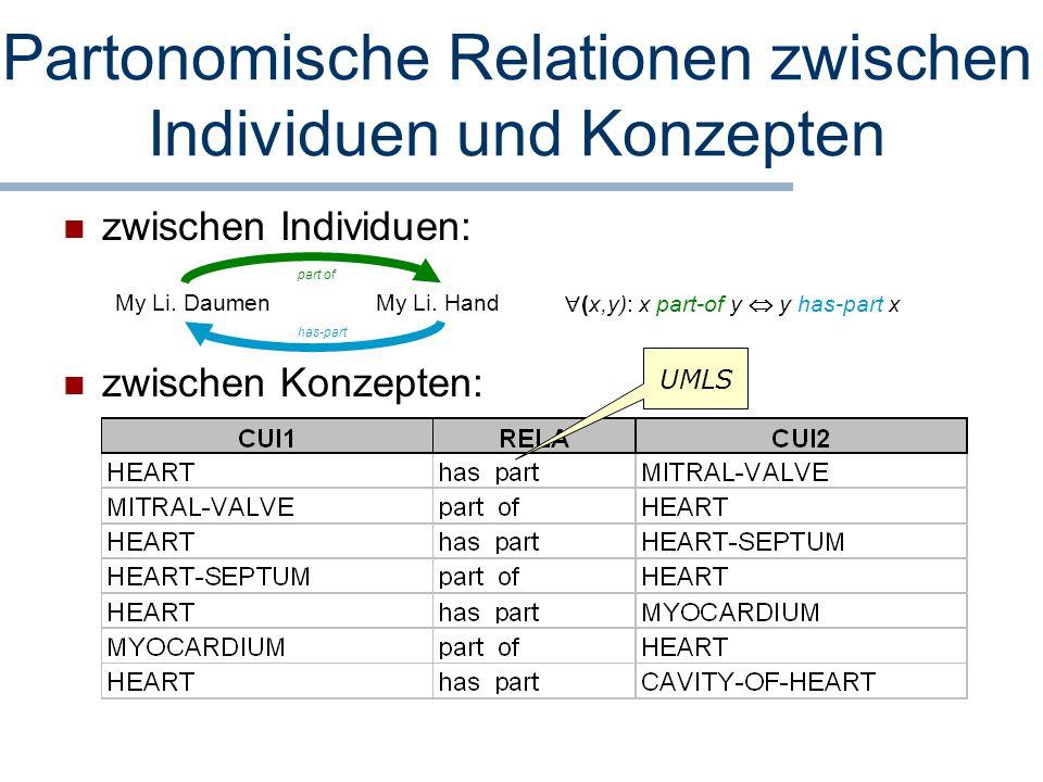 Partonomische Relationen zwischen Individuen und Konzepten zwischen Individuen: zwischen Konzepten: My Li. DaumenMy Li. Hand part of has-part  (x,y):