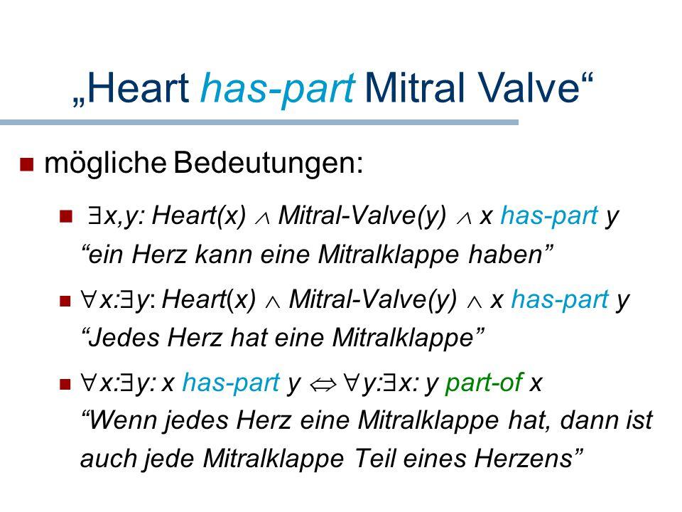 """mögliche Bedeutungen:  x,y: Heart(x)  Mitral-Valve(y)  x has-part y """"ein Herz kann eine Mitralklappe haben""""  x:  y: Heart(x)  Mitral-Valve(y) """
