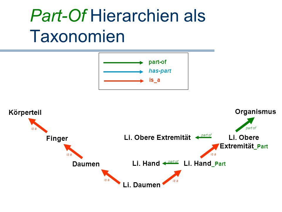 Part-Of Hierarchien als Taxonomien Li. Daumen Daumen Finger Li. Hand _Part Körperteil is a part ofis a Li. Hand is a Li. Obere Extremität part of Li.
