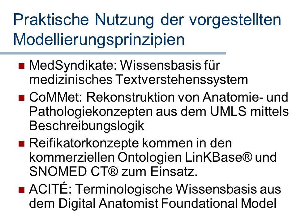 Praktische Nutzung der vorgestellten Modellierungsprinzipien MedSyndikate: Wissensbasis für medizinisches Textverstehenssystem CoMMet: Rekonstruktion