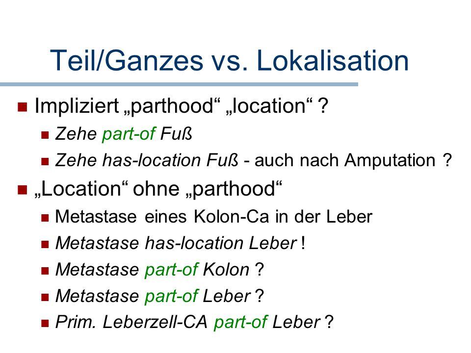"""Teil/Ganzes vs. Lokalisation Impliziert """"parthood"""" """"location"""" ? Zehe part-of Fuß Zehe has-location Fuß - auch nach Amputation ? """"Location"""" ohne """"parth"""