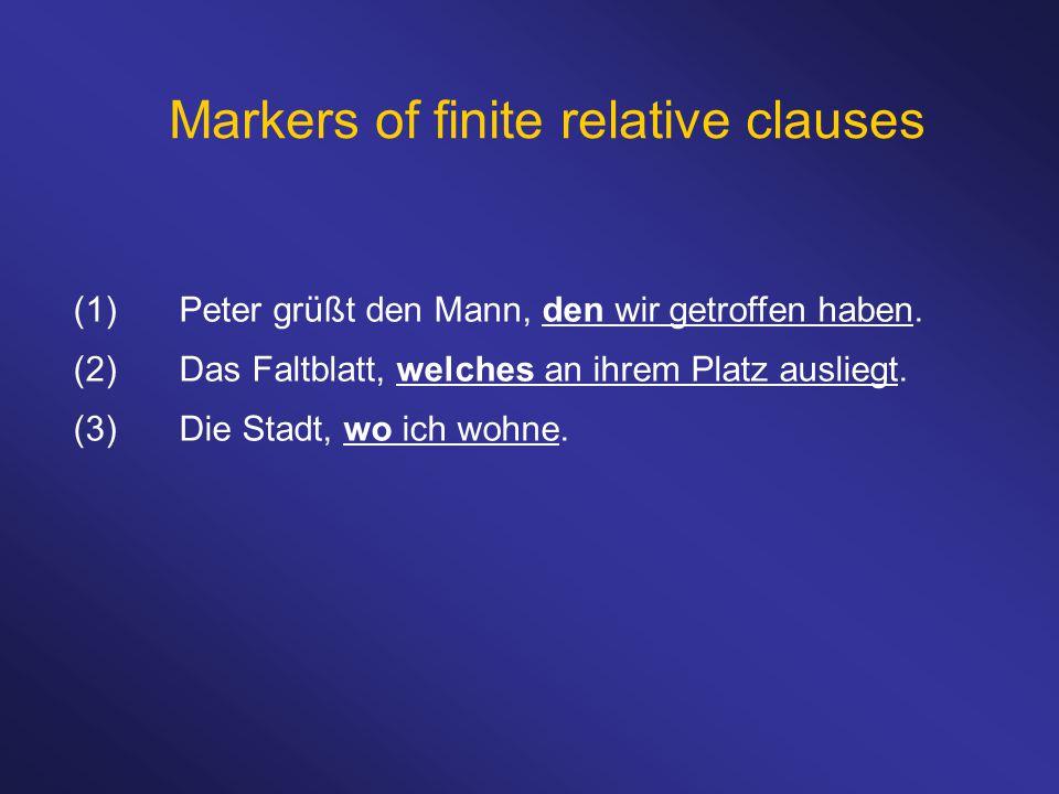 Markers of finite relative clauses (1)Peter grüßt den Mann, den wir getroffen haben. (2)Das Faltblatt, welches an ihrem Platz ausliegt. (3)Die Stadt,