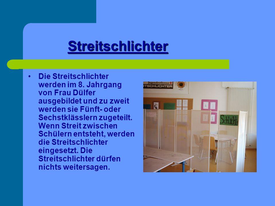 Streitschlichter Die Streitschlichter werden im 8. Jahrgang von Frau Dülfer ausgebildet und zu zweit werden sie Fünft- oder Sechstklässlern zugeteilt.
