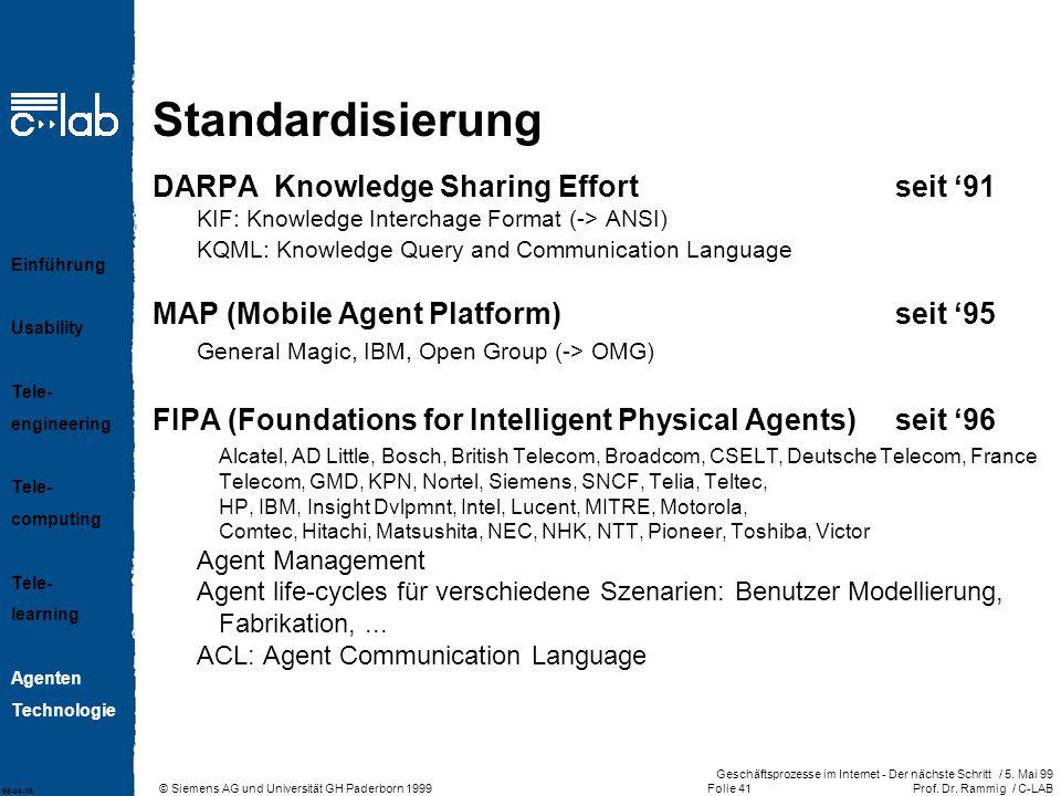 © Siemens AG und Universität GH Paderborn 1999 Geschäftsprozesse im Internet - Der nächste Schritt / 5.