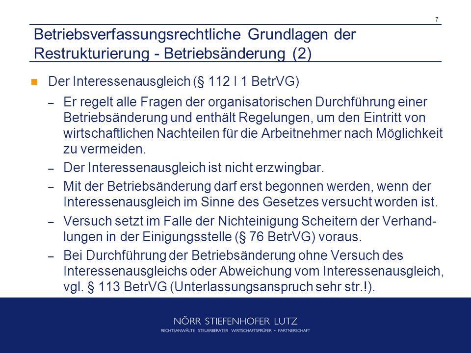 8 Betriebsverfassungsrechtliche Grundlagen der Restrukturierung - Betriebsänderung (3) Der Sozialplan (§ 112 I 2 BetrVG) – Regelt den Ausgleich oder die Milderung der den AN aus der Betriebsänderung entstehenden wirtschaftlichen Nachteile.