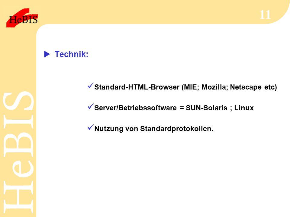 H e B I SH e B I S 11  Technik: Standard-HTML-Browser (MIE; Mozilla; Netscape etc) Server/Betriebssoftware = SUN-Solaris ; Linux Nutzung von Standardprotokollen.