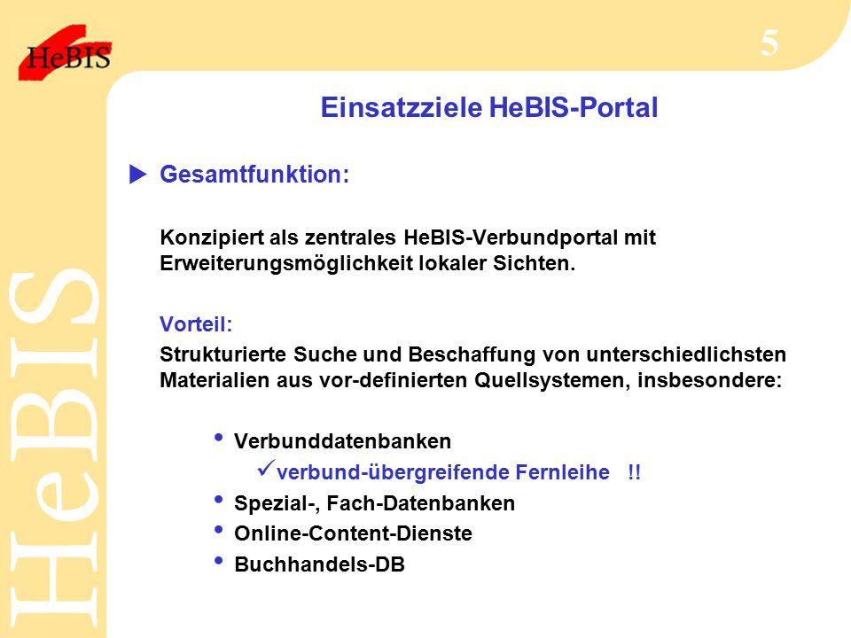 H e B I SH e B I S 5 Einsatzziele HeBIS-Portal  Gesamtfunktion: Konzipiert als zentrales HeBIS-Verbundportal mit Erweiterungsmöglichkeit lokaler Sichten.