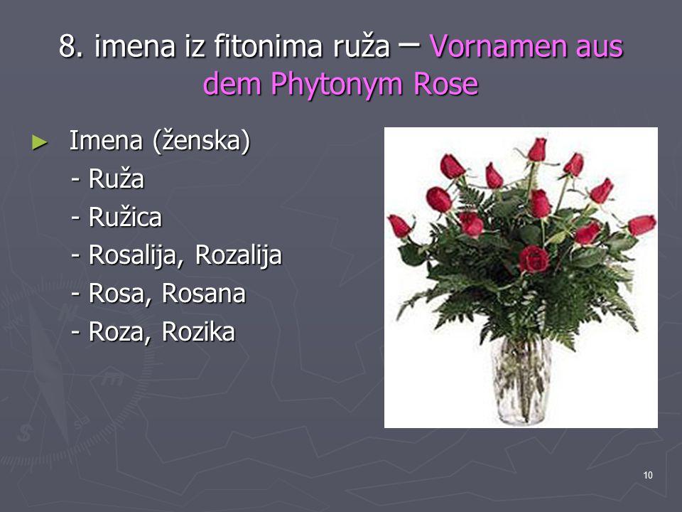 10 8. imena iz fitonima ruža – Vornamen aus dem Phytonym Rose ► Imena (ženska) - Ruža - Ruža - Ružica - Ružica - Rosalija, Rozalija - Rosalija, Rozali