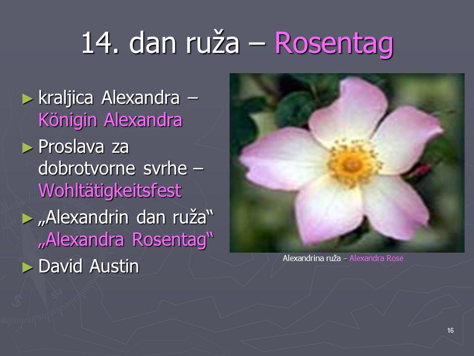 "16 14. dan ruža – Rosentag ► kraljica Alexandra – Königin Alexandra ► Proslava za dobrotvorne svrhe – Wohltätigkeitsfest ► ""Alexandrin dan ruža"" ""Alex"
