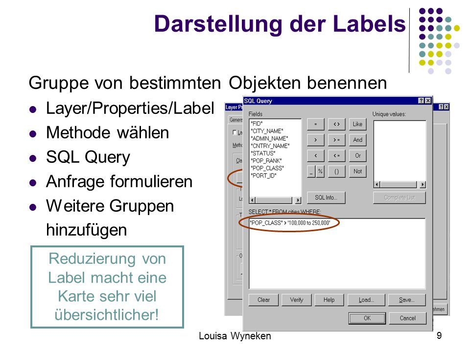 Louisa Wyneken 9 Darstellung der Labels Gruppe von bestimmten Objekten benennen Layer/Properties/Label Methode wählen SQL Query Anfrage formulieren Weitere Gruppen hinzufügen Reduzierung von Label macht eine Karte sehr viel übersichtlicher!