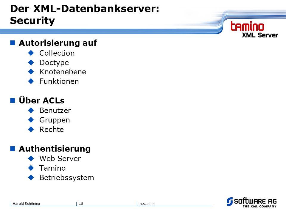 18Harald Schöning 8.5.2003 Der XML-Datenbankserver: Security Autorisierung auf  Collection  Doctype  Knotenebene  Funktionen Über ACLs  Benutzer  Gruppen  Rechte Authentisierung  Web Server  Tamino  Betriebssystem