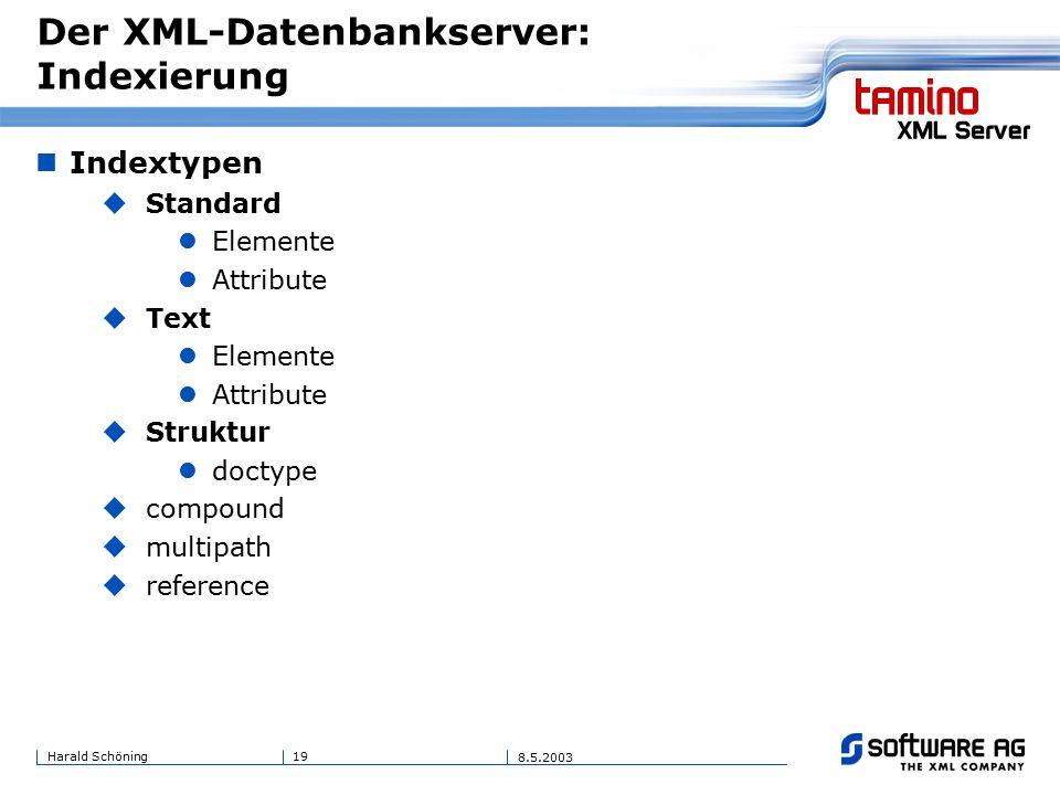 19Harald Schöning 8.5.2003 Der XML-Datenbankserver: Indexierung Indextypen  Standard Elemente Attribute  Text Elemente Attribute  Struktur doctype  compound  multipath  reference