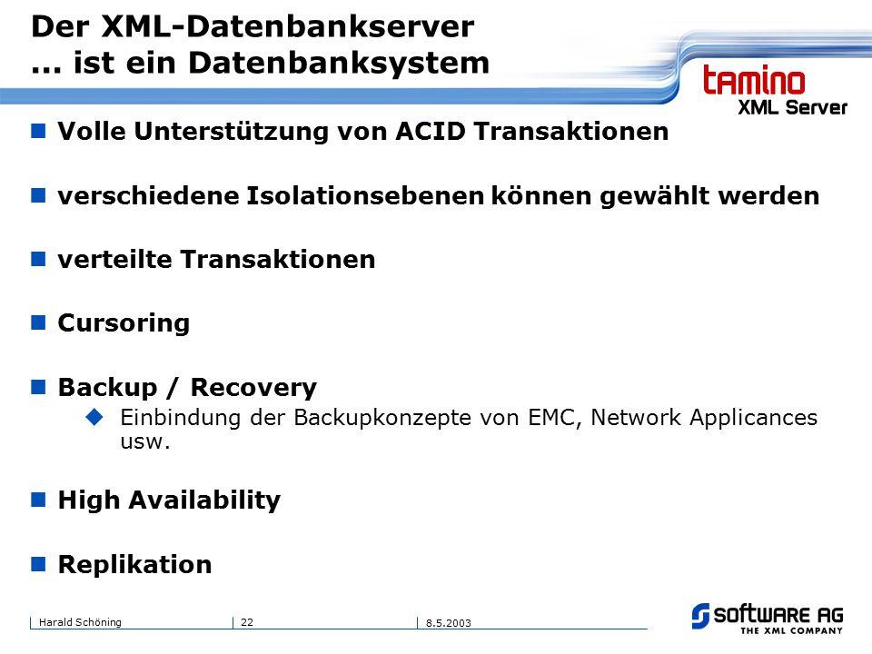 22Harald Schöning 8.5.2003 Der XML-Datenbankserver...