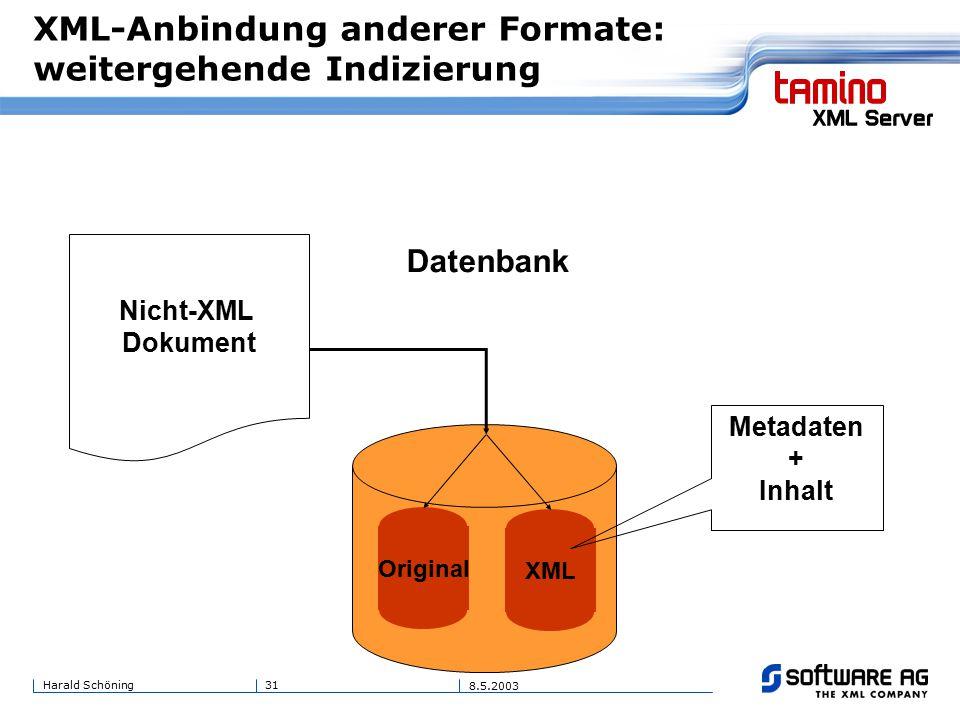 31Harald Schöning 8.5.2003 XML-Anbindung anderer Formate: weitergehende Indizierung Original Nicht-XML Dokument XML Datenbank Metadaten + Inhalt