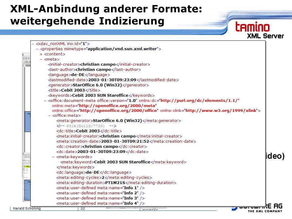32Harald Schöning 8.5.2003 XML-Anbindung anderer Formate: weitergehende Indizierung MS-Word MS-Excel StarOffice Writer StarOffice Spreadsheet Multimedia (pic,mp3,video) PDF....some text....