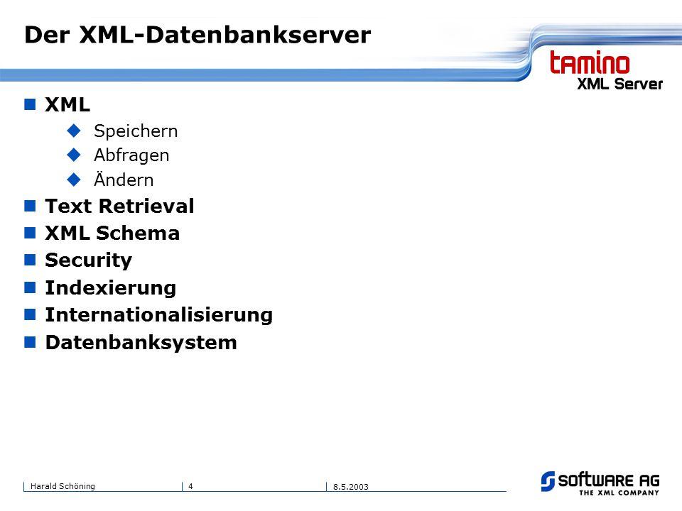 4Harald Schöning 8.5.2003 Der XML-Datenbankserver XML  Speichern  Abfragen  Ändern Text Retrieval XML Schema Security Indexierung Internationalisierung Datenbanksystem