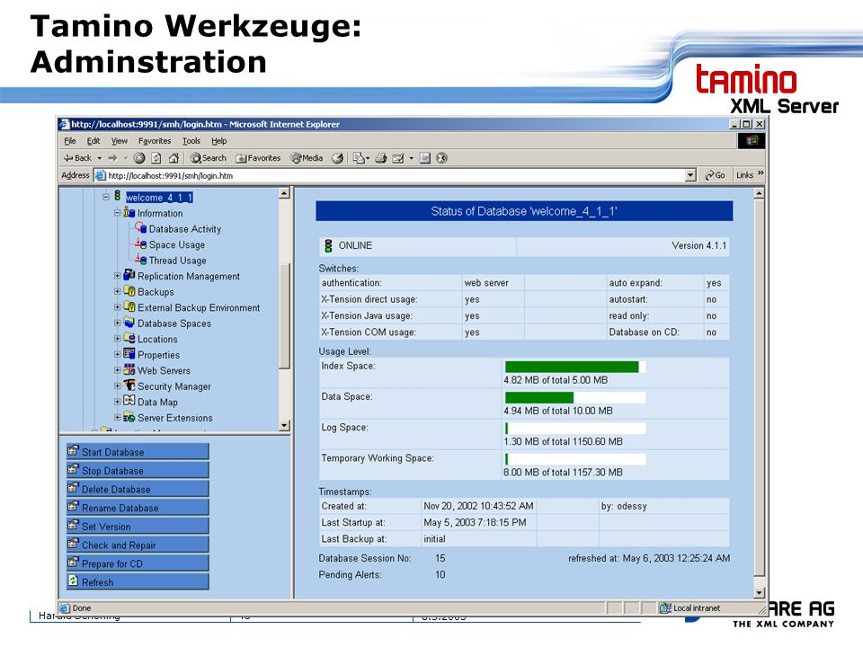 43Harald Schöning 8.5.2003 Tamino Werkzeuge: Adminstration