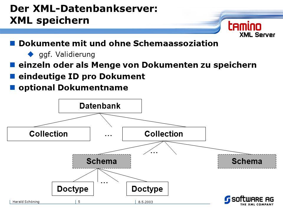 5Harald Schöning 8.5.2003 Der XML-Datenbankserver: XML speichern Dokumente mit und ohne Schemaassoziation  ggf.
