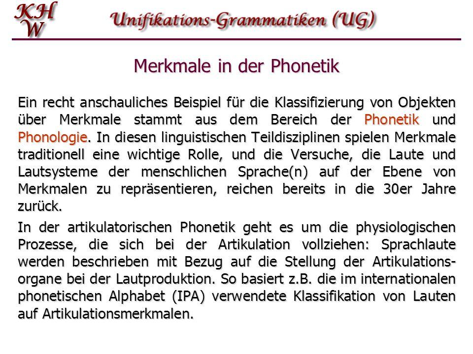 Merkmale in der Phonetik Ein recht anschauliches Beispiel für die Klassifizierung von Objekten über Merkmale stammt aus dem Bereich der Phonetik und P