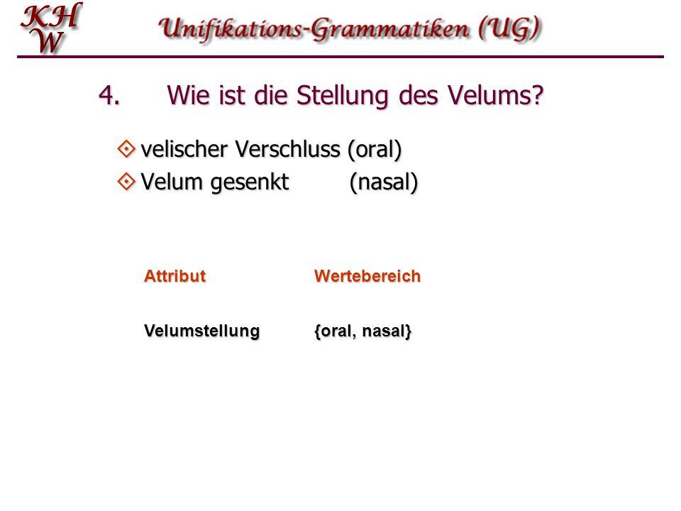 4. Wie ist die Stellung des Velums?  velischer Verschluss (oral)  Velum gesenkt(nasal) AttributWertebereich Velumstellung {oral, nasal}