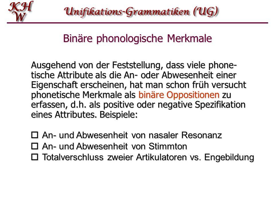 Binäre phonologische Merkmale Ausgehend von der Feststellung, dass viele phone- tische Attribute als die An- oder Abwesenheit einer Eigenschaft ersche