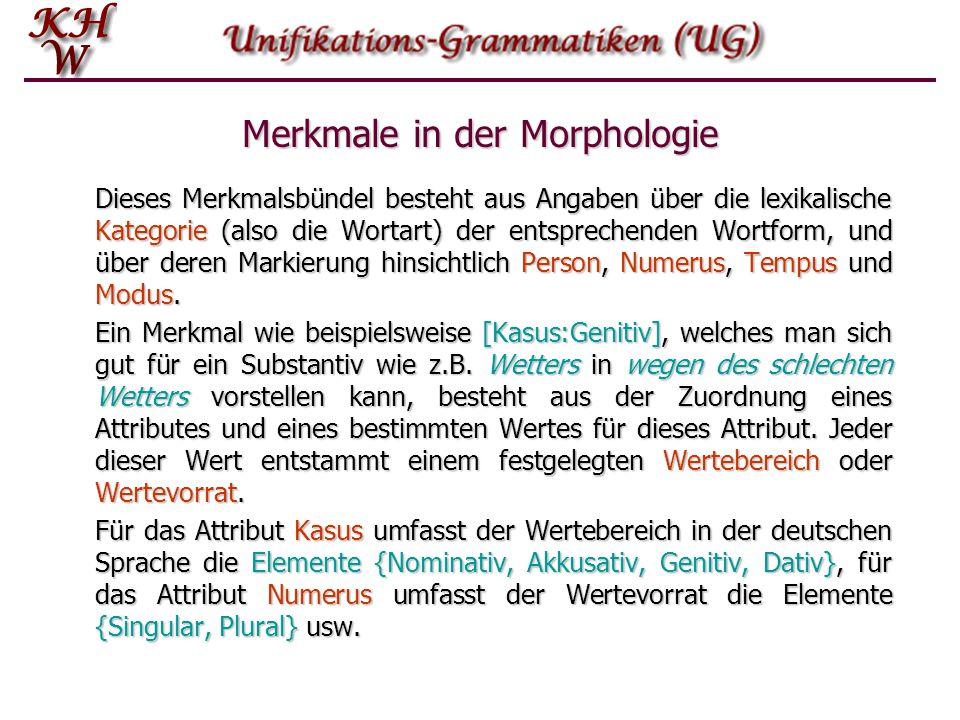 Merkmale in der Morphologie Dieses Merkmalsbündel besteht aus Angaben über die lexikalische Kategorie (also die Wortart) der entsprechenden Wortform,
