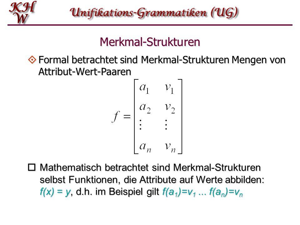Merkmal-Strukturen  Formal betrachtet sind Merkmal-Strukturen Mengen von Attribut-Wert-Paaren  Mathematisch betrachtet sind Merkmal-Strukturen selbs
